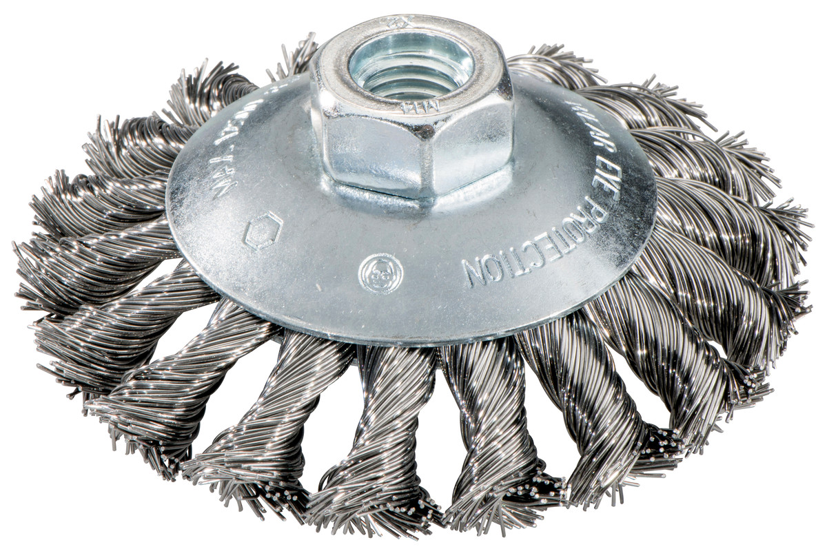 Wheel brush 100x0.5x10 mm/ M 14, steel-wire, twisted, offset ...