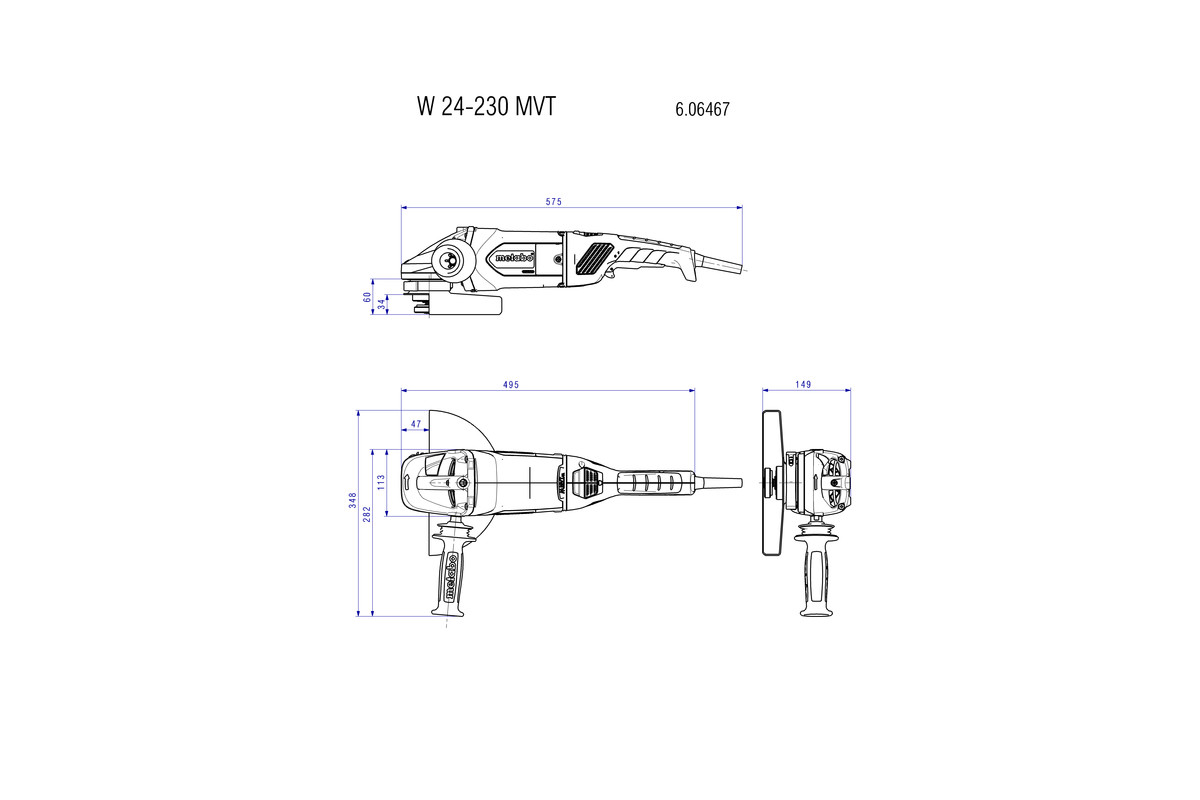 W 24-230 MVT (606467190) Angle Grinder | Metabo Power Tools on