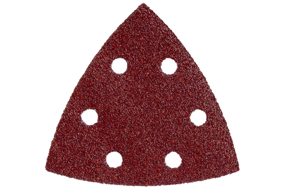 5 feuilles abrasives auto-agrippantes 93 x 93 mm, P 120, B+M, pour ponceuse à patin triangulaire (624944000)