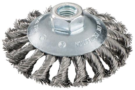 Brosse boisseau 100x0,5x10 mm/ M 14, acier, torsadé, modèle coudé (623803000)