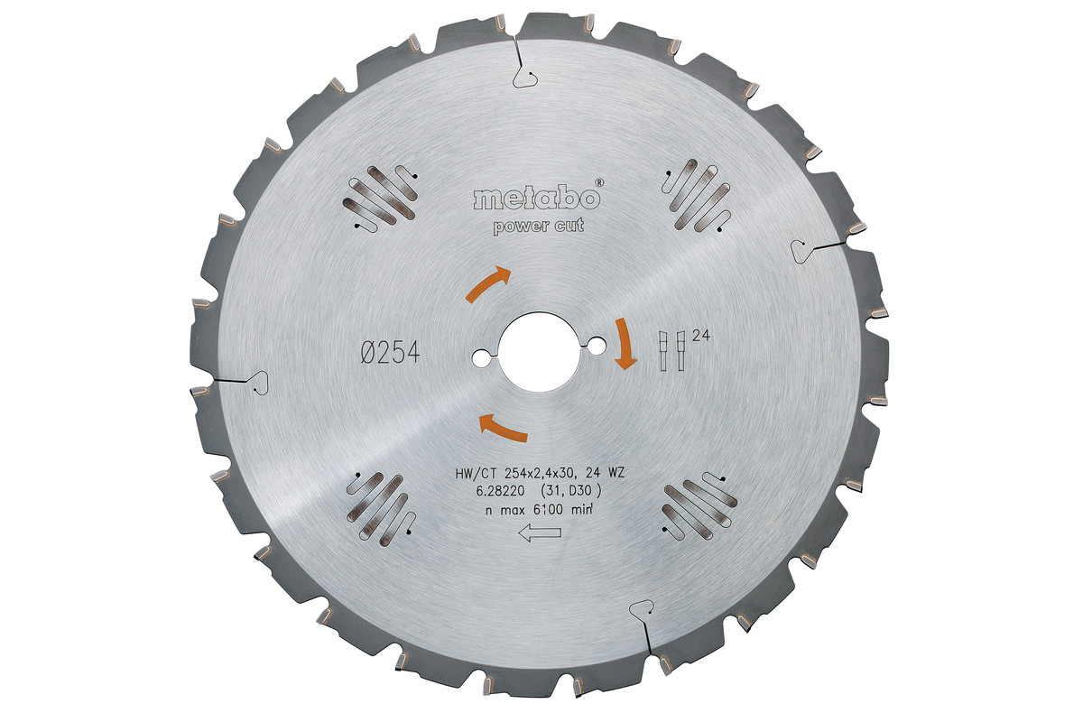 Lame de scie circulaire HW/CT 254 x 30, 24 WZ 5° nég. (628220000)