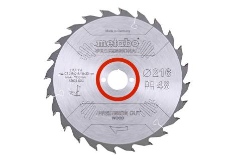Lame de scie « precision cut wood - professional », 216x30, Z48 WZ 5° nég. (628041000)