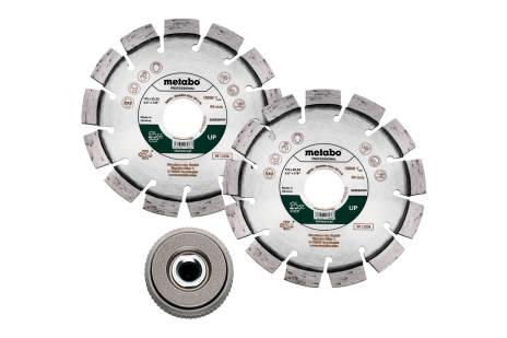 Set : 2 x meules de tronçonnage diamantées 115x22,23mm, « UP » + 1 x écrou de serrage rapide M14 (628581000)