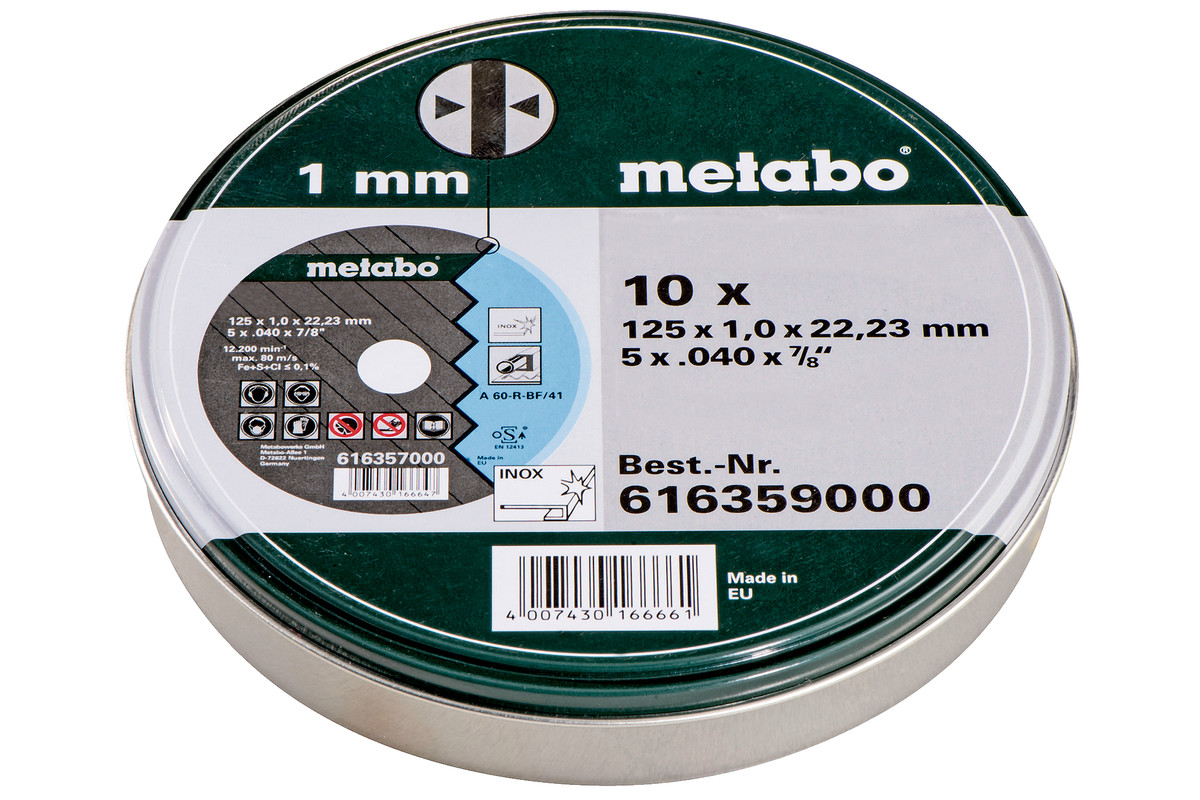 10 Discos de corte - SP 125x1,0x22,23 inox, TF 41 (616359000)