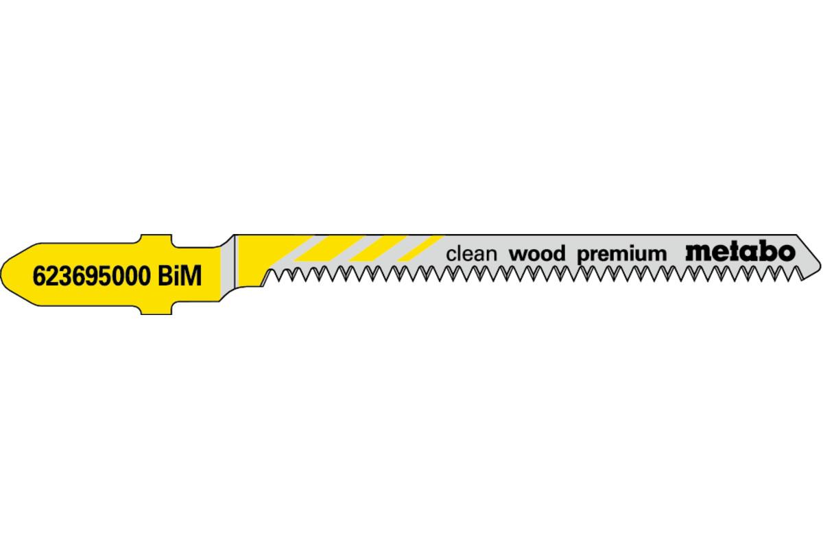 """5 Jigsaw blades """"clean wood premium"""" 57/ 1.4 mm (623695000)"""