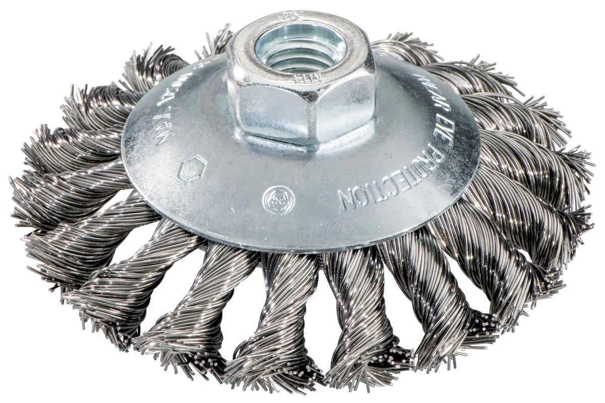 Escova redonda 100x0,5x10 mm/ M 14, aço, entrançada, cônc. (623803000)