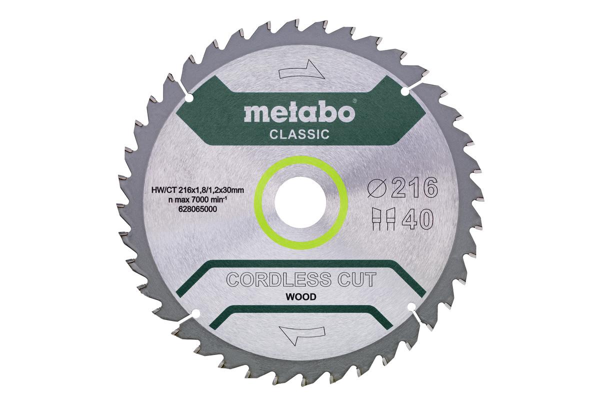 """Lâmina de serra """"cordless cut wood - classic"""", 216x30 Z40 DC 5° (628065000)"""