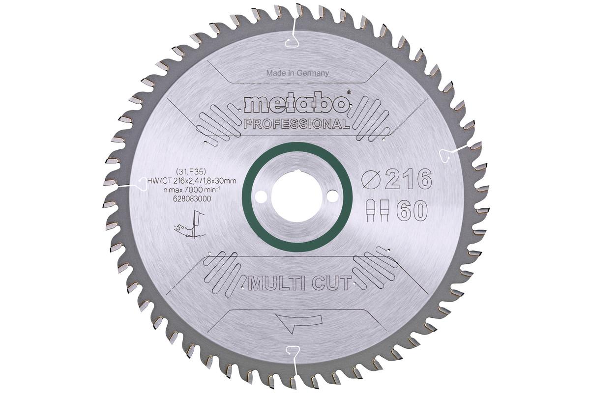 """Hoja de sierra """"multi cut - professional"""", 216x30, D60 DP/DT, 5°neg. (628083000)"""