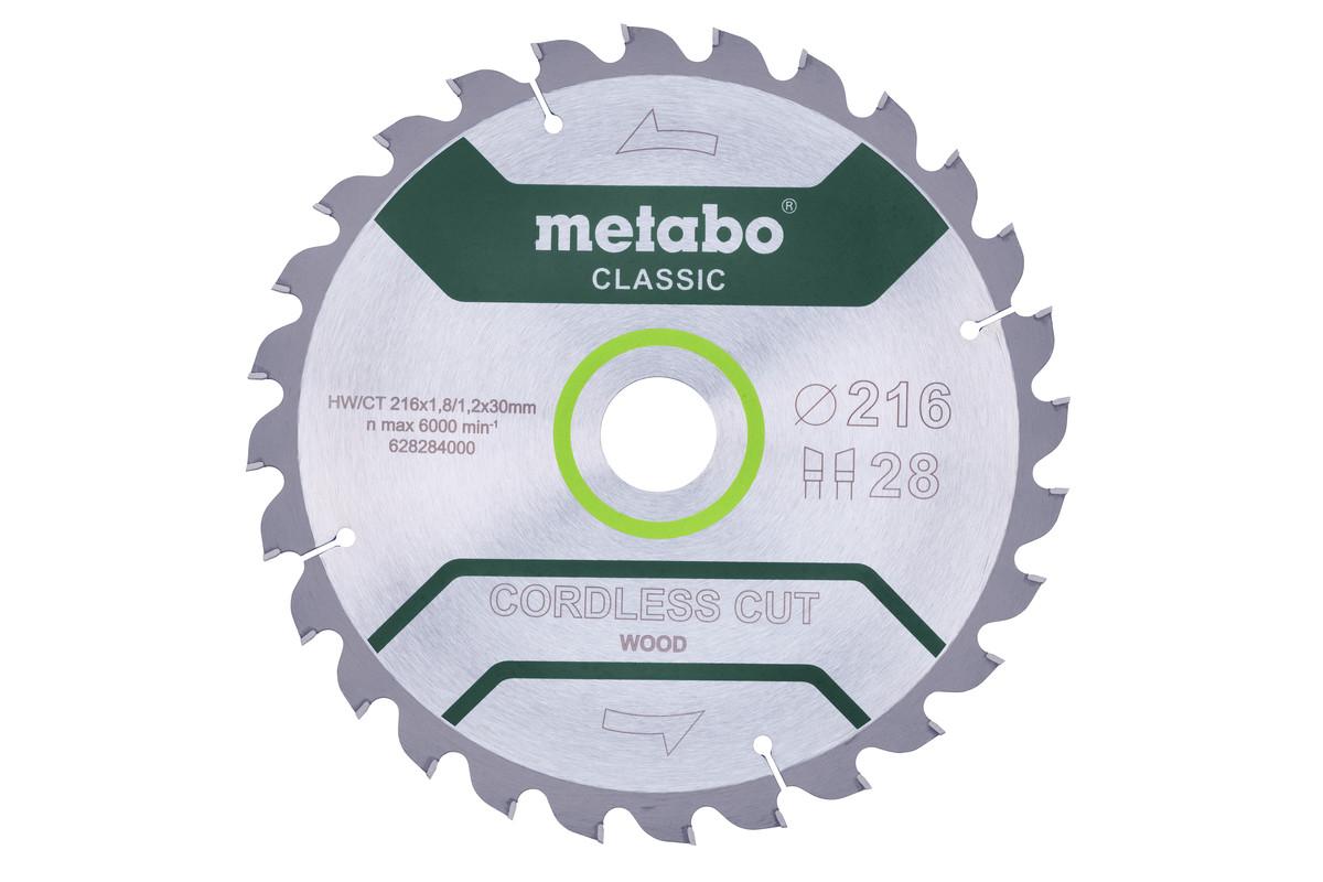 """Saw blade """"cordless cut wood - classic"""", 216x30 Z28 WZ 5° (628284000)"""
