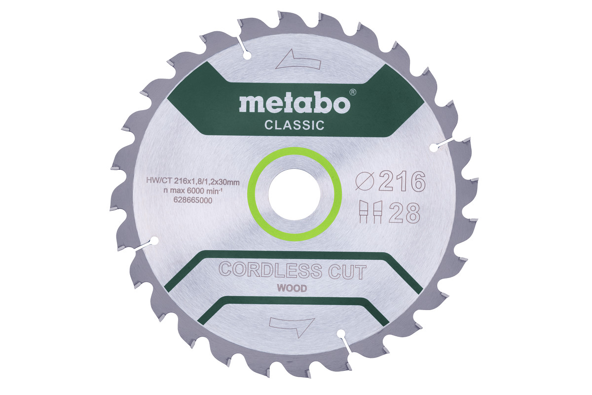 "Saw blade ""cordless cut wood - classic"", 216x30 Z28 WZ 5° /B (628665000)"