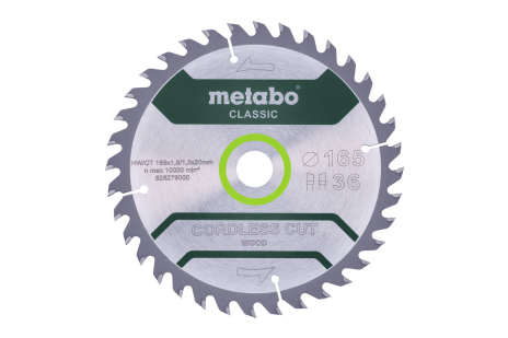 "Saw blade ""cordless cut wood - classic"", 165x20 Z36 WZ 15° (628279000)"