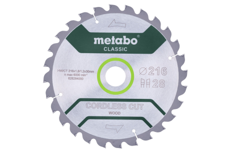 "Saw blade ""cordless cut wood - classic"", 216x30 Z28 WZ 5° (628284000)"