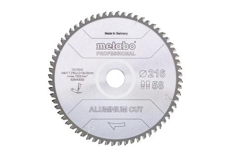 """Lâmina de serra """"aluminium cut - professional"""", 216x30 Z58 FZ/TZ 5°neg (628443000)"""