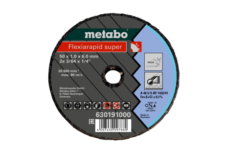 Small cutting disc Flexiarapid Super 50x1.0x6.0 Inox (630191000)