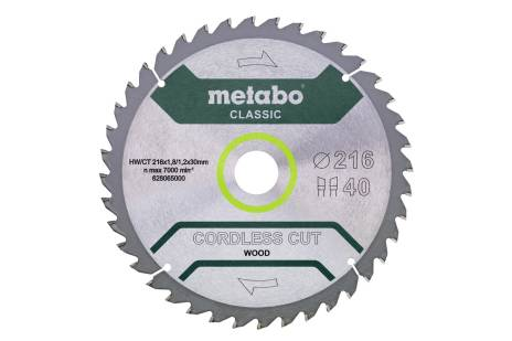 "Saw blade ""cordless cut wood - classic"", 216x30 Z40 WZ 5° (628065000)"