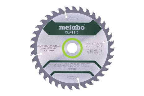 "Saw blade ""cordless cut wood - classic"", 165x20 Z18 WZ 20° (628272000)"
