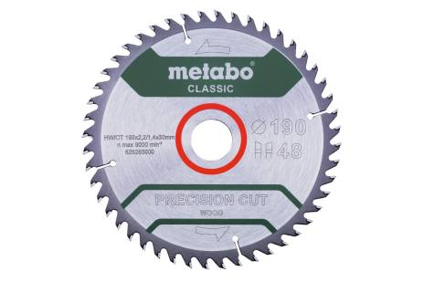 """Saw blade """"precision cut wood - classic"""", 190x30 Z48 WZ 15° (628283000)"""