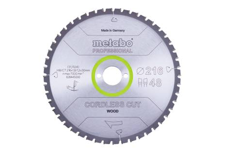 "Saw blade ""cordless cut wood - professional"", 216x30 Z28 WZ 5°neg (628444000)"
