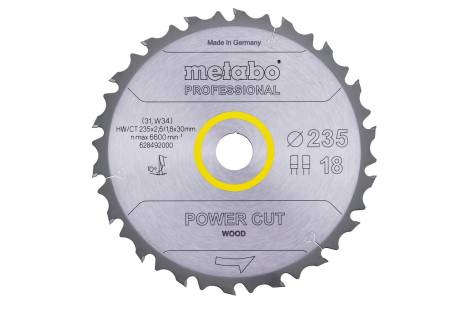 "Saw blade ""power cut wood - professional"", 235x30, Z18 FZ/FA 10° (628492000)"