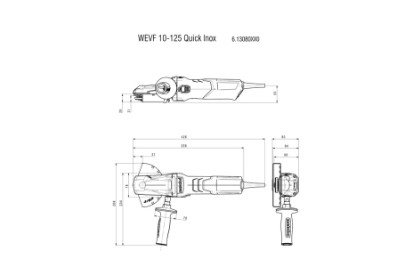 WEVF 10-125 Quick Inox Set (613080500) Amoladora angular de cabeza plana