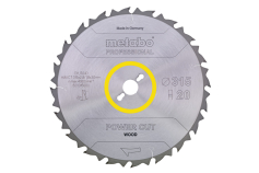 "Saw blade ""power cut wood - professional"", 315x30, Z20 FZ 22° (628015000)"