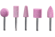 Set of pink aluminium mointed points, shank 6 mm, 5-piece (628335000)