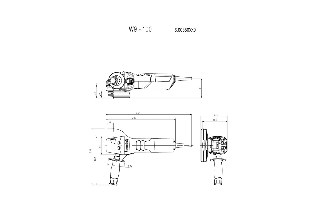 w 9 100 (600350310) angle grinder metabo power tools Jet Diagram