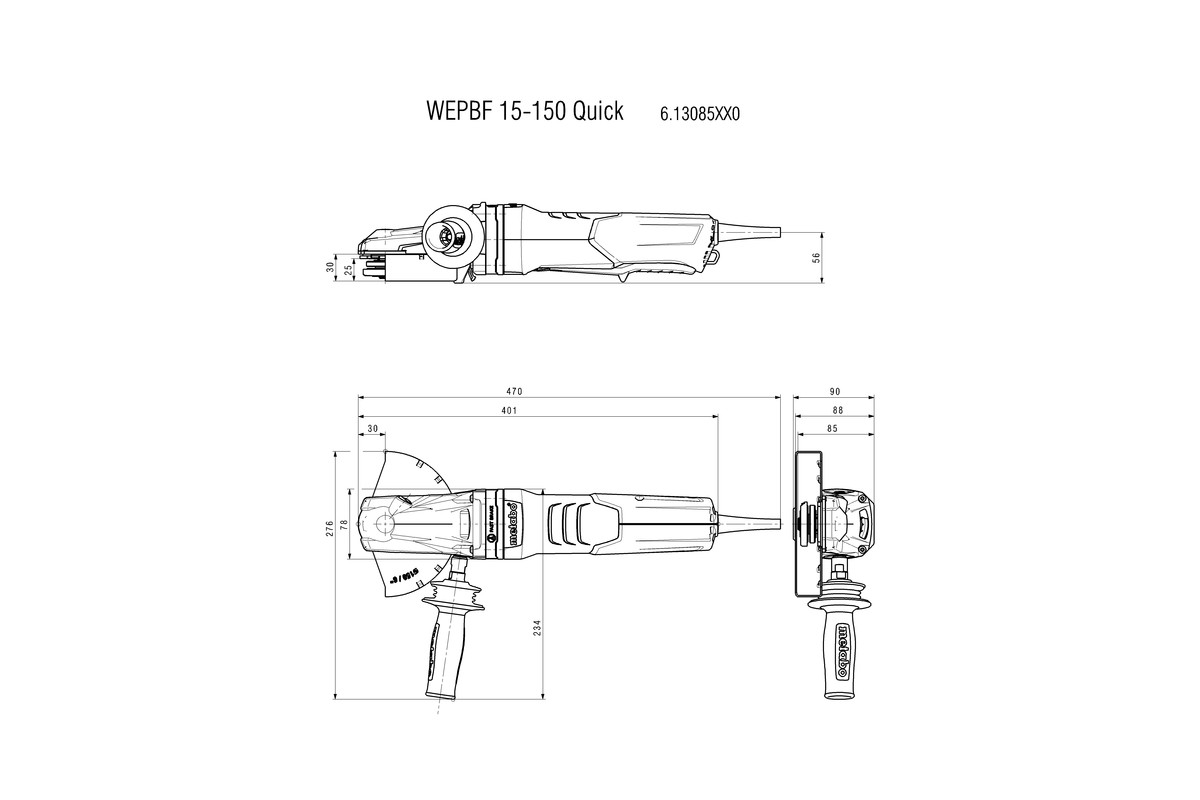 Metabo Wiring Diagram Wepbf 15 150 Quick 613085420 Flat Head Angle Grinder Power Tools