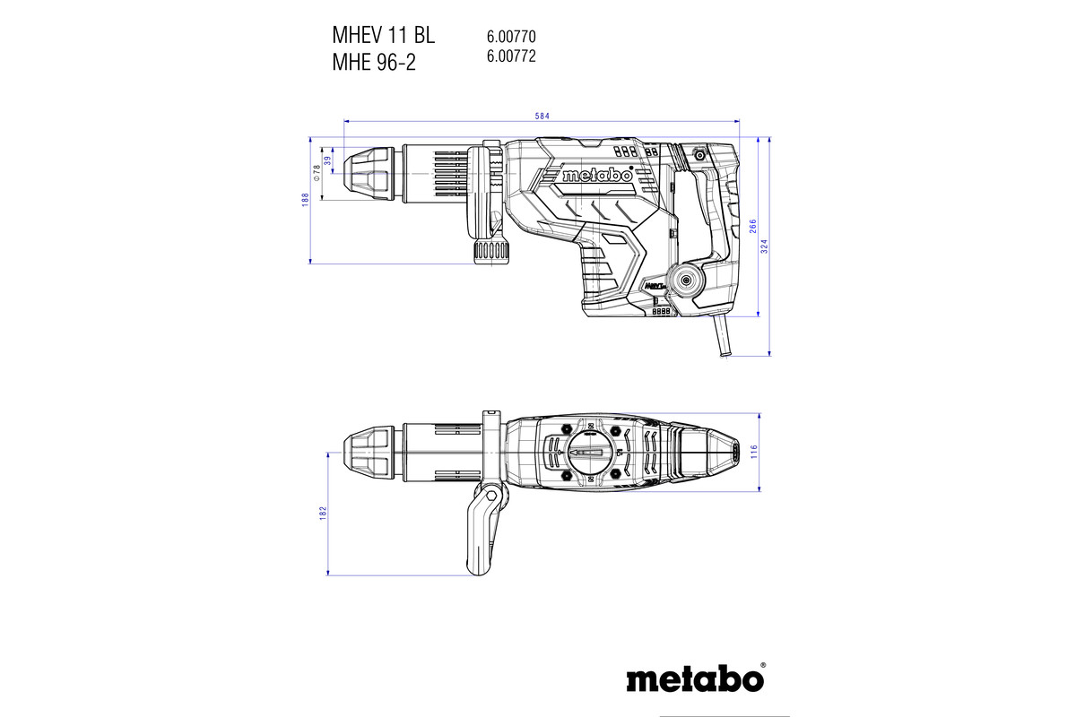 MHEV 11 BL (600770500) Chipping Hammer | Metabo Power Tools Har Irrigation Controller Wiring Diagram on