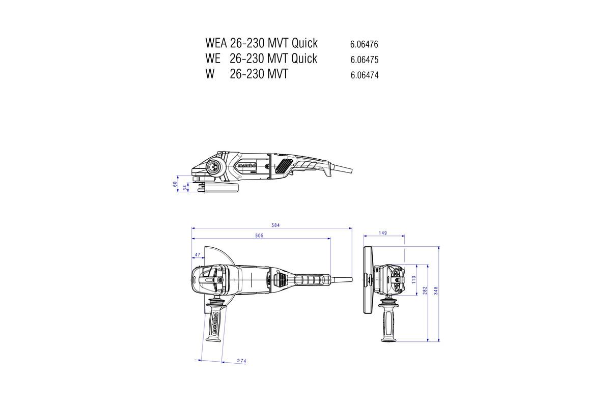 Wea 26-230 mvt amoladora angular r/ápida Metabo 606476260