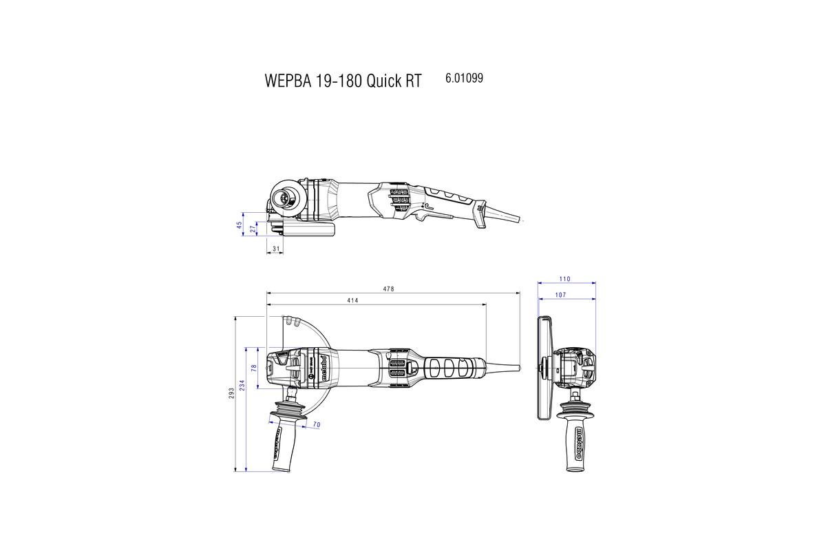 WEPBA 19-180 Quick RT (601099390) Rebarbadora angular | Ferramentas