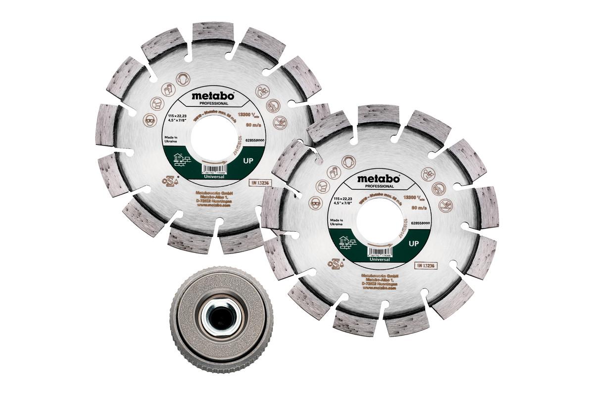 """Sada: 2x diamantový řezný kotouč 115x22,23mm, """"UP""""+ 1x rychloupínací matice M 14 (628581000)"""