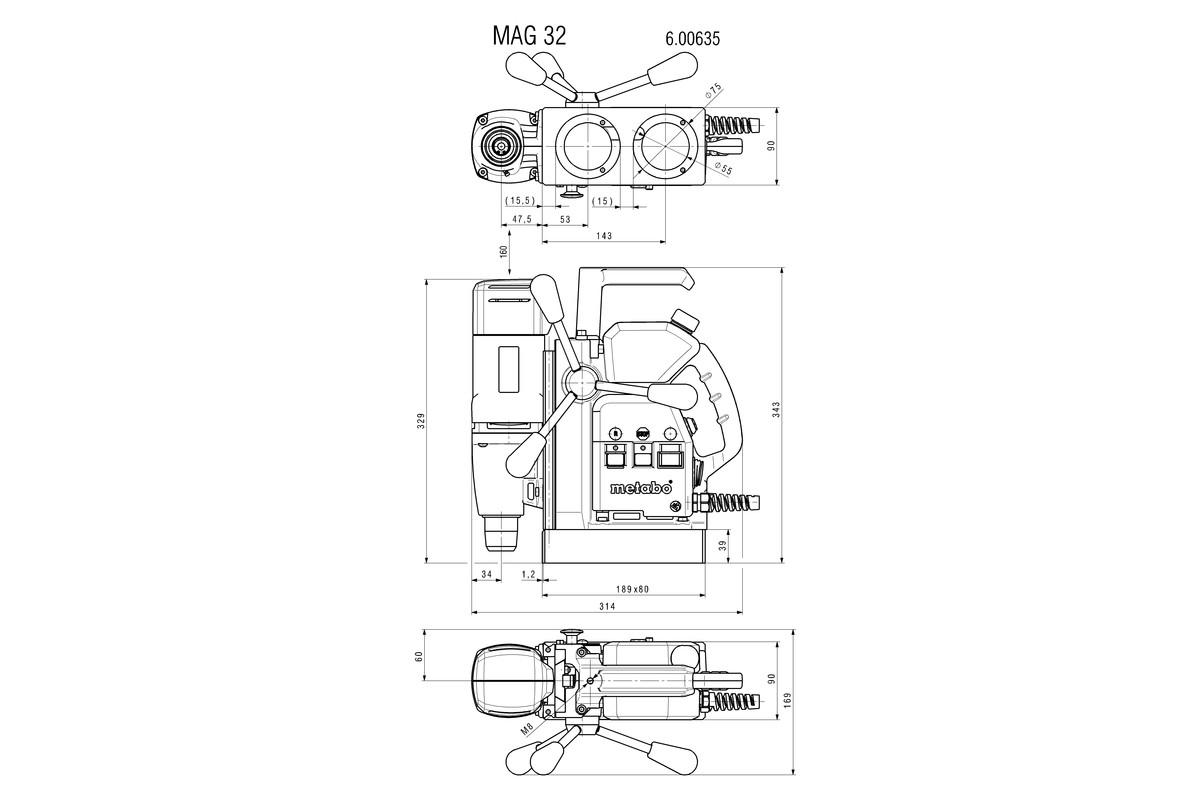 mag 32 600635500 magnetkernbohrmaschine metabo elektrowerkzeuge