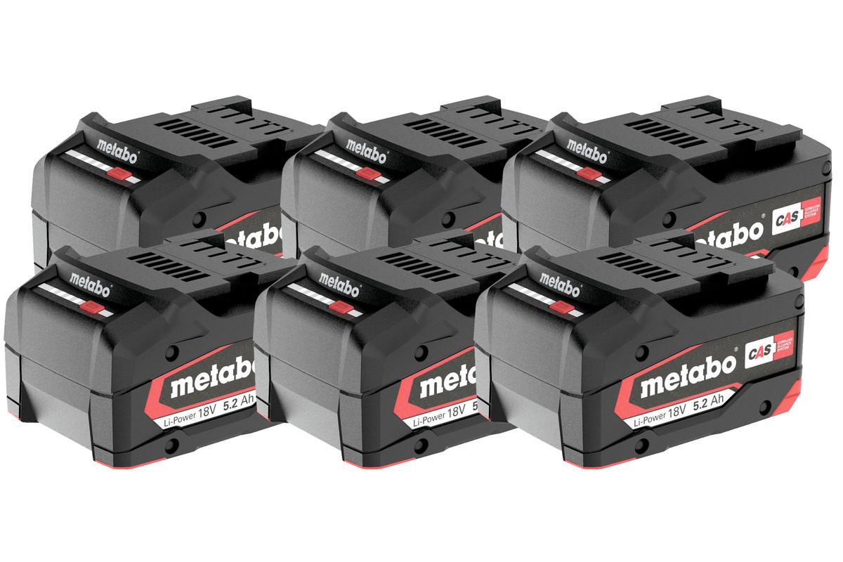 Sæt 6 x Li-Power batteri 18 V/5,2 Ah (625152000)
