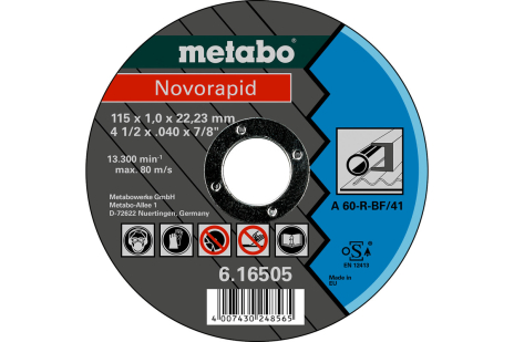 Novorapid Ø 115 x 1,0 x 22,23 mm, stål, TF 41 (616505000)
