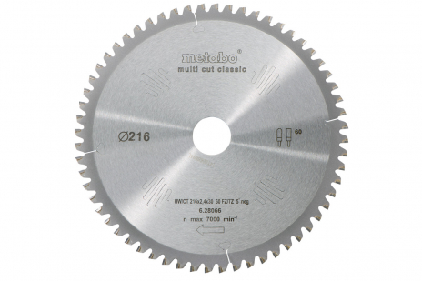 Rundsavsklinge HW/CT 216x30, 60 FZ/TZ, 5° neg. (628066000)