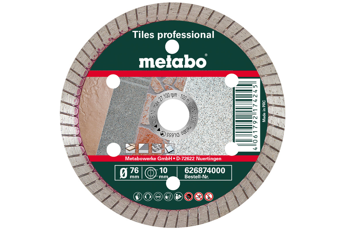 "Disco de cortar de diamante, 76x10,0mm, ""TP"", azulejos ""professional"" (626874000)"