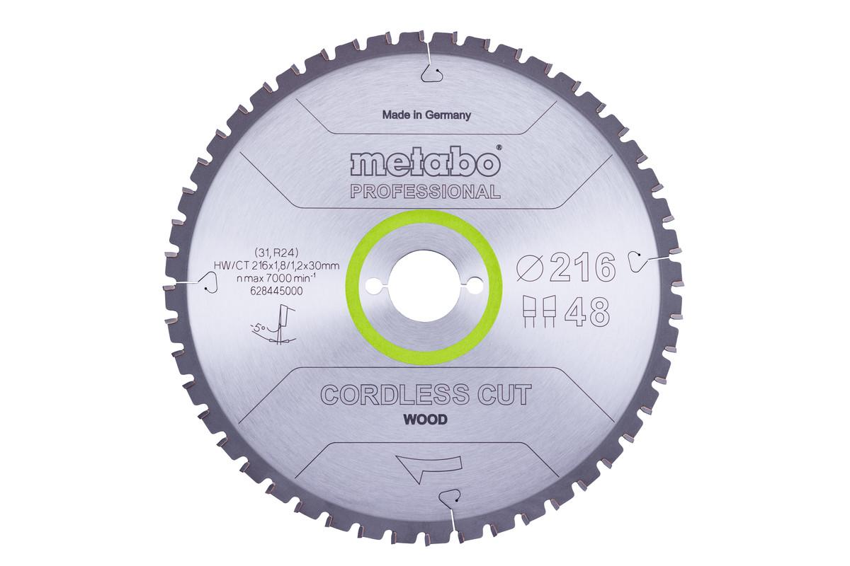 """Hoja de sierra """"cordless cut wood - professional"""", 216x30 Z48 DI 5°neg (628445000)"""