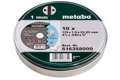 10 discos de cortar SP 115x1,0x22,23 Inox, TF 41 (616358000)