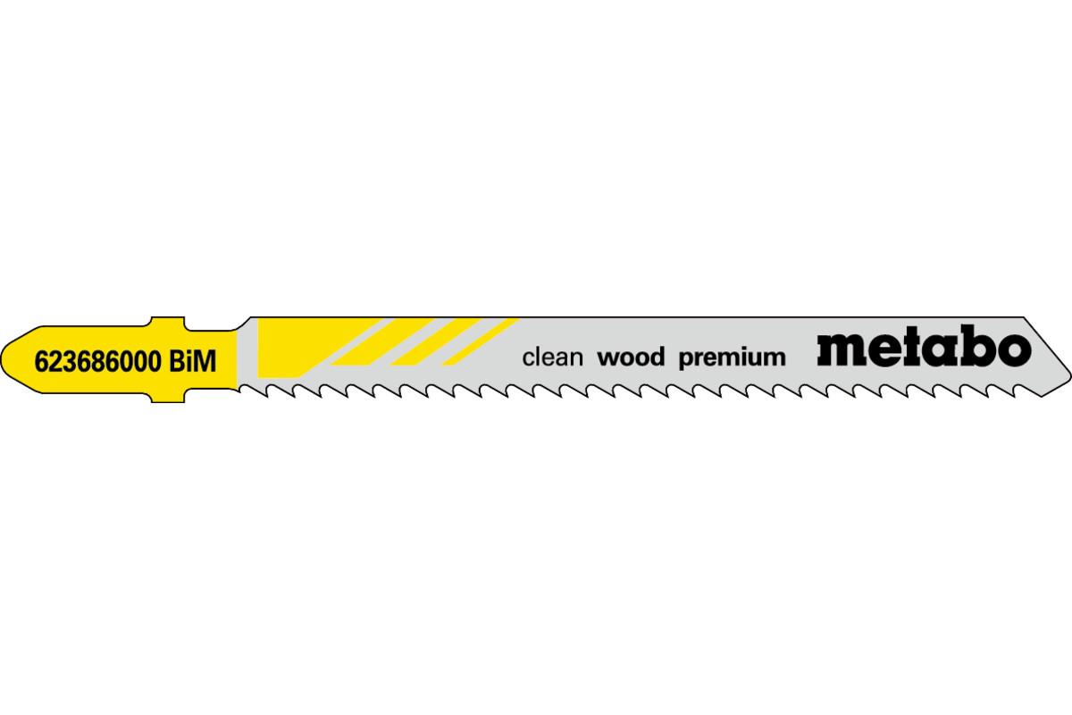 5 lames de scie sauteuse « clean wood premium » 74/ 2,5 mm (623686000)
