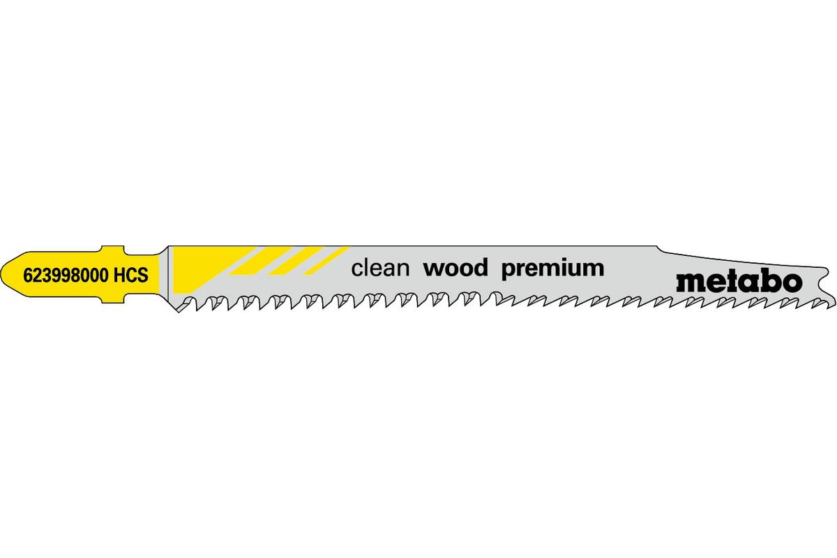 5 lames de scie sauteuse « clean wood premium » 93/ 2,2 mm (623998000)