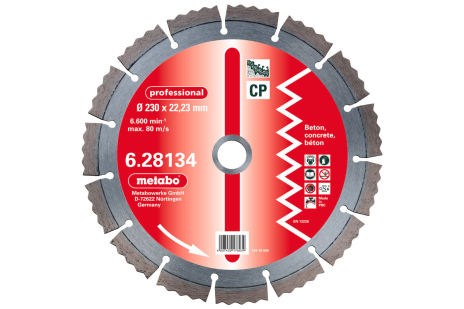 """Gyém. vágót., 230x2,5x22,23mm, """"professional"""", """"CP"""", beton (628134000)"""