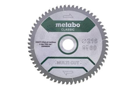 """Fűrészlap """"multi cut - classic"""", 216x30, Z60 FZ/TZ, 5°neg. (628066000)"""