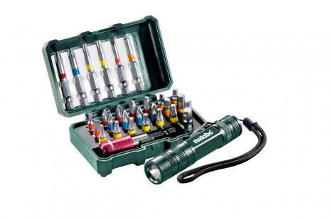 """Custodia con inserti """"SP"""", 29 pezzi + Mini Flash light (626721000)"""