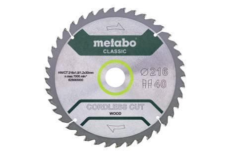 "Pjovimo diskas ""cordless cut wood - classic"", 216x30 Z40 WZ 5° (628065000)"