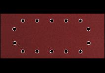 115 x 280 mm slīpēšanas plāksnes ar 14 atverēm, piestiprināmas ar skavām
