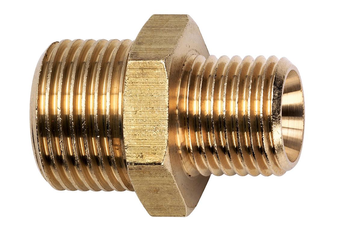 Dubultais pārejas nipelis, 1/8 collas ārējā vītne x 1/4 collas ārējā vītne (7808009247)