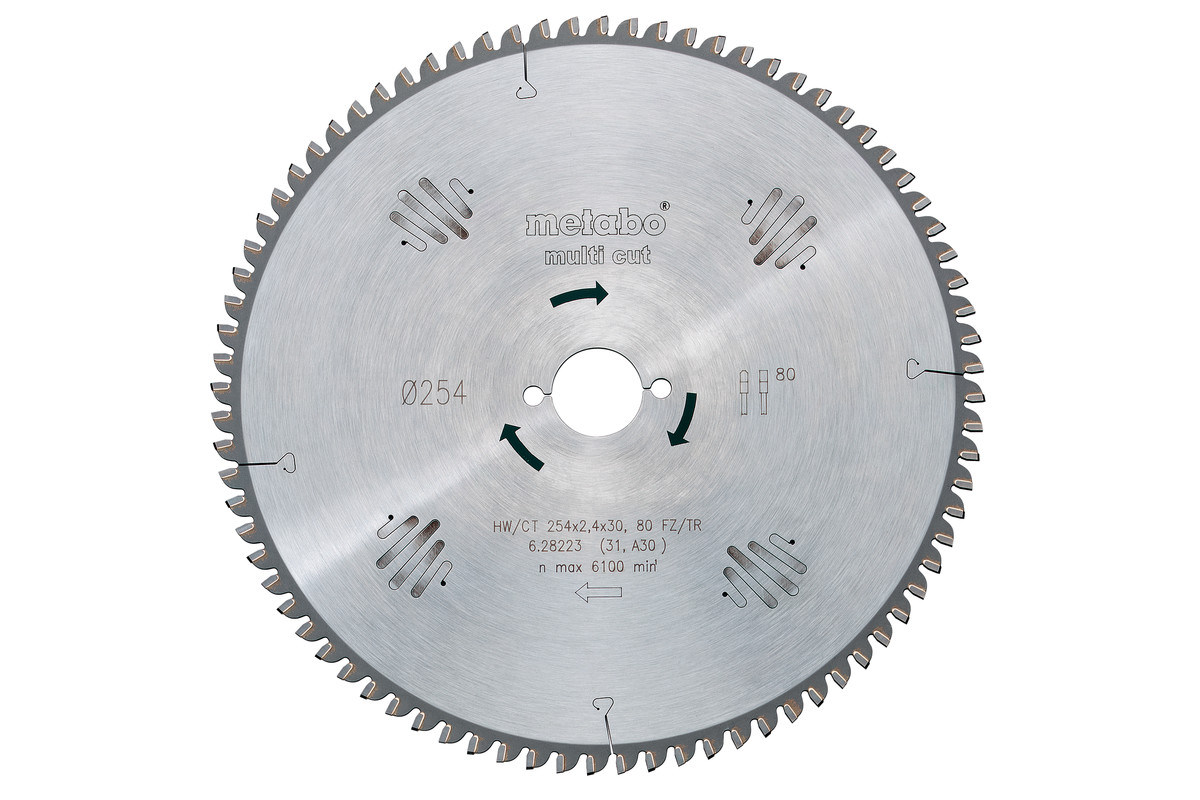 Ripzāģmašīnu asmens HW/CT, 254x30 mm, 80 plakani/trapecveida zobi, 5° (628093000)