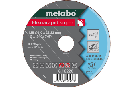 Flexiarapid Super 125x0,8x22,23 mm, nerūsošajam tēraudam, GF 42 (616209000)