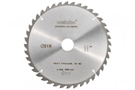 Ripzāģmašīnu asmens HW/CT, 216x30 mm, 40 pamīšus izvietoti zobi, 5° neg., Classic (628060000)